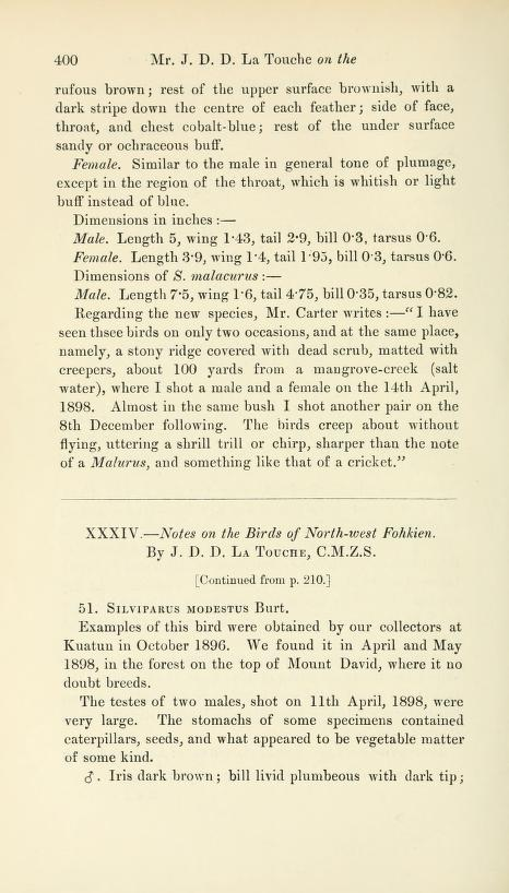 Notes on the Birds of North-west Fohkien
